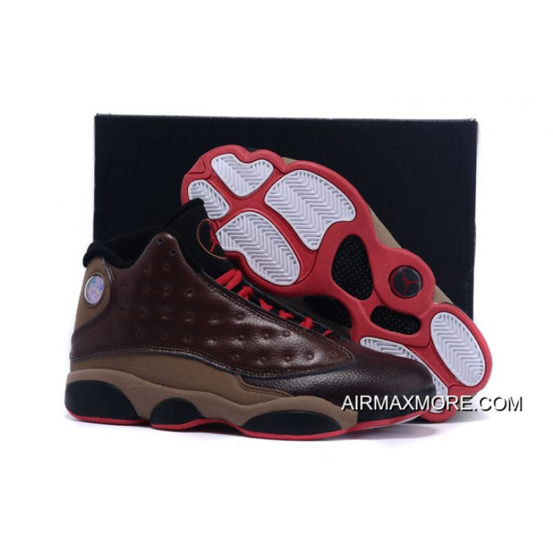 uk availability d1249 b050a New Air Jordan 13 Cigar Custom By Damien Brown Black Red Free Shipping