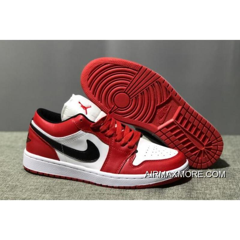 "23f435f7891ba7 Women Men Best Air Jordan 1 Low ""Bred"" White Varsity Red-Black ..."