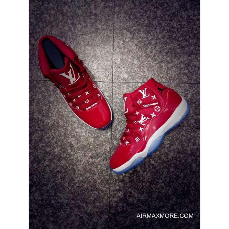 """4afceaeafe0 ... Where To Buy Custom Mens And Womens Air Jordan 11 """"Supreme"""" Gym Red ..."""