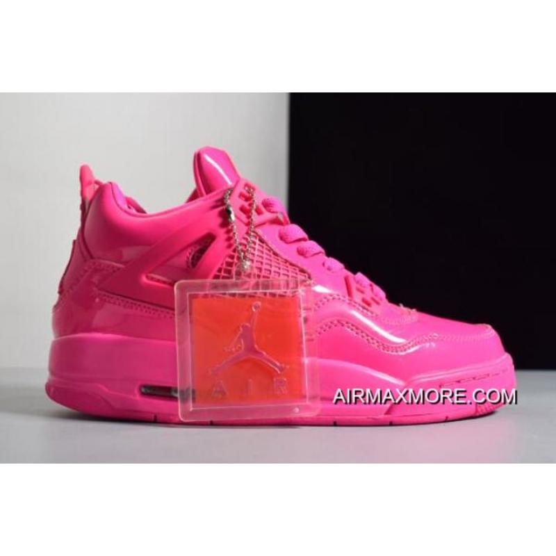 """reputable site 12985 46719 Women New Release Air Jordan 4 GS 11Lab4 """"Pink Patent"""" Leather"""