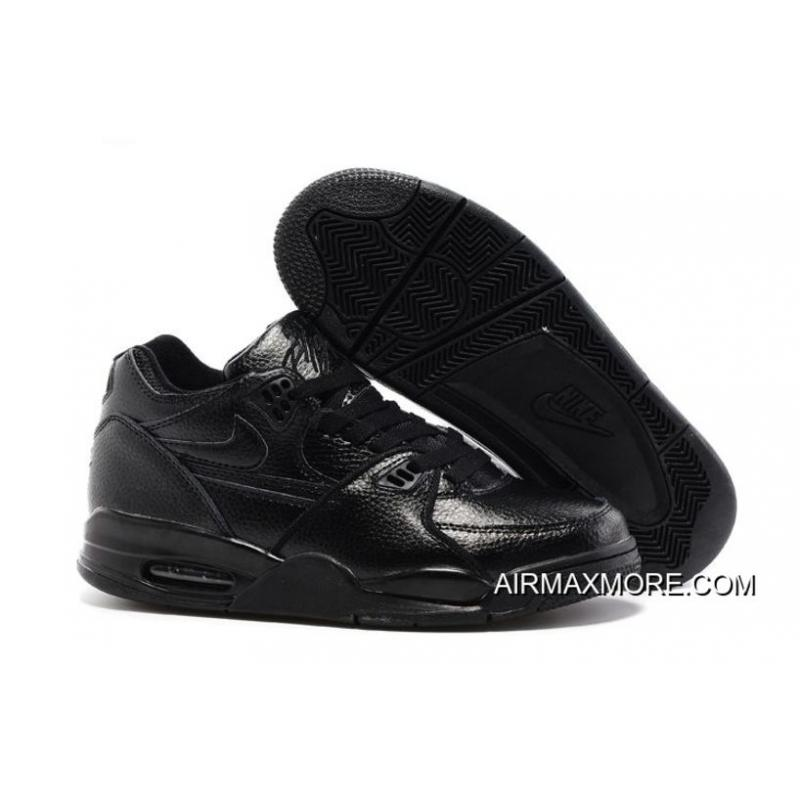 Nike Air Flight 89 All Black Leather Basketball Shoes New Style