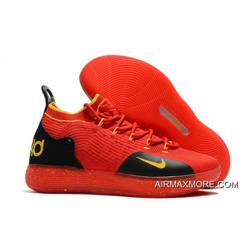 b470a09b4df5 Nike KD 11 University Red Black-Yellow Kevin Durant s Basketball Shoes  Super Deals ...