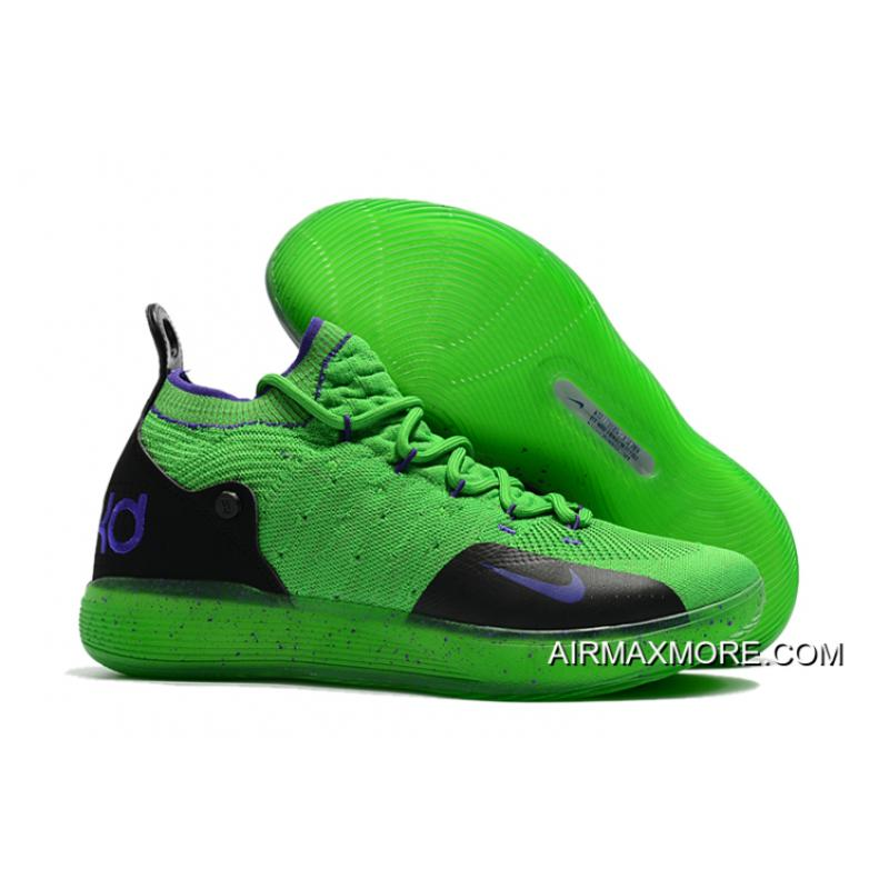 082fe6d2fa02 Nike KD 11 Green Black-Purple Kevin Durant s Basketball Shoes Buy Now ...