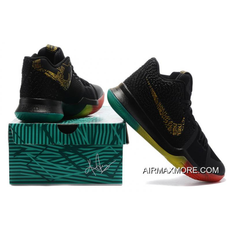 """los angeles 0e6d2 df6a0 ... Nike Kyrie 3 """"Rainbow"""" Black Gold Pink Grass Green Colorful Outlet"""