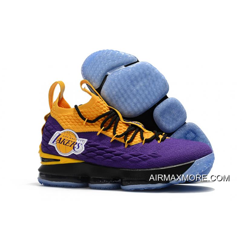 "designer fashion 7d7f3 9602a Free Shipping Nike LeBron 15 ""Los Angeles Lakers"" Purple Yellow Black ..."