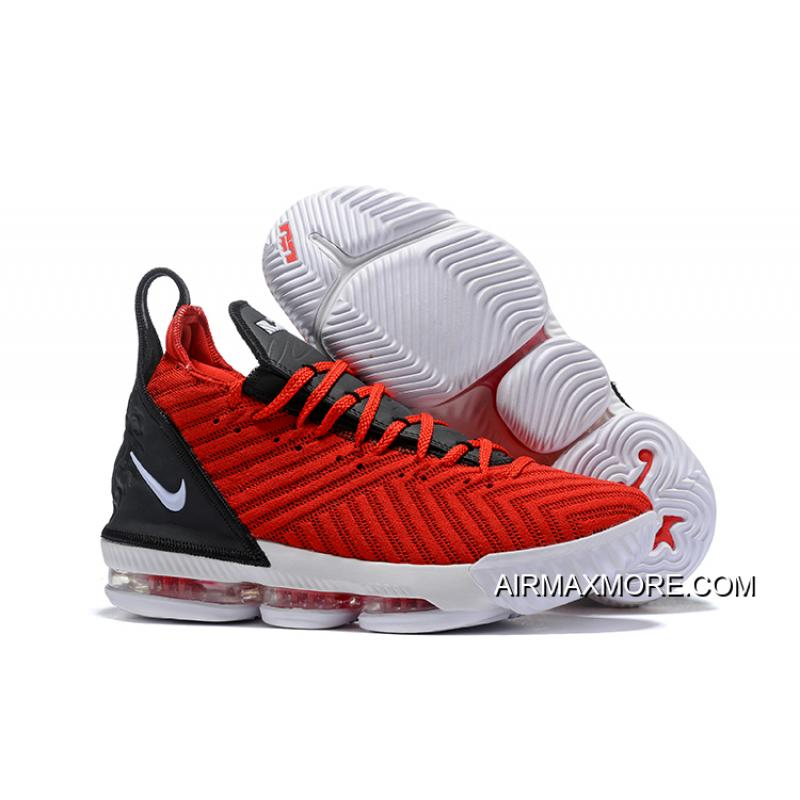 53db076b1f0 Top Deals Men s Nike LeBron 16 Black University Red-White ...