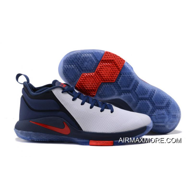 "10dff9d6608 Nike LeBron Zoom Witness 2 ""USA"" Midnight Navy White-University Red  Basketball ..."