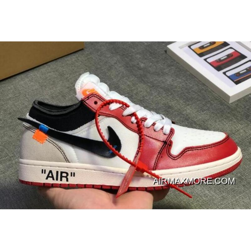 Women Men Off-White X Air Jordan 1 Low White Black-Varsity Red For ... a455ab22a