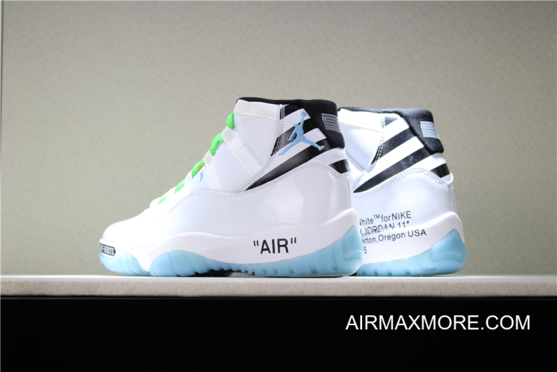 big sale 477bd 0c8c4 Off-White X Air Jordan 11 Custom White/Legend Blue/Black/Green Latest
